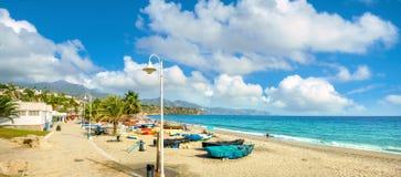 Nerja beach. Malaga province, Costa del Sol, Andalusia, Spain. View of beach in Nerja. Malaga province, Costa del Sol, Andalusia, Spain Royalty Free Stock Photos