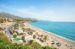 Nerja beach. Malaga province, Costa del Sol, Andalusia, Spain. View of beach in Nerja. Malaga province, Costa del Sol, Andalusia, Spain Stock Photo
