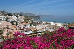 Nerja berömd semesterort på Costa del Sol, Malaga, Spanien Fotografering för Bildbyråer