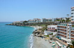 Nerja on the Costa del Sol in spring. Nerja is a municipality on the Costa del Sol in southern Spain. There are cosy bays, 16 kilometres of sandy beaches, the Royalty Free Stock Photo