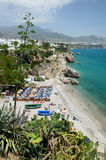 Nerja on the Costa del Sol in spring. Nerja is a municipality on the Costa del Sol in southern Spain. There are cosy bays, 16 kilometres of sandy beaches, the Stock Photography