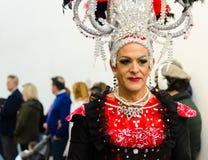 NERJA, ESPANHA - 11 de fevereiro de 2018 pessoa nos trajes que comemora Foto de Stock Royalty Free