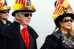NERJA, ESPANHA - 11 de fevereiro de 2018 pessoa nos trajes que comemora Imagem de Stock Royalty Free