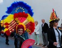 NERJA, ESPANHA - 11 de fevereiro de 2018 pessoa nos trajes que comemora Imagem de Stock