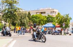 NERJA HISZPANIA, CZERWIEC, - 10, 2018 motocyklu wiec w sławnym Anda obraz royalty free