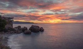 Sunrise on the well-known Balcón de Europa royalty free stock photography