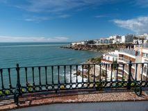 Nerja, a small town on the Costa del Sol. View of the beach and the mountains. Andalusia. Spain. March, 2018. Nerja, a small town on the Costa del Sol. View of Royalty Free Stock Photography