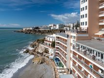 Nerja, a small town on the Costa del Sol. View of the beach and the mountains. Andalusia. Spain. March, 2018. Nerja, a small town on the Costa del Sol. View of Stock Photo