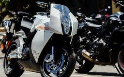 NERJA, SPAGNA - 10 giugno 2018 raduno del motociclo nel Anda famoso immagini stock libere da diritti