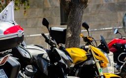 NERJA, SPAGNA - 10 giugno 2018 raduno del motociclo nel Anda famoso immagine stock libera da diritti