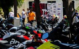 NERJA, SPAGNA - 10 giugno 2018 raduno del motociclo nel Anda famoso fotografia stock libera da diritti