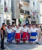 NERJA SPANIEN - JULI 16, 2018 ståtar ettåriga växten i den kust- Andaluen Royaltyfria Bilder