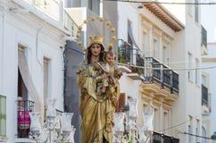 NERJA SPANIEN - JULI 16, 2018 ståtar ettåriga växten i den kust- Andaluen Royaltyfri Foto