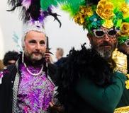 NERJA, SPANJE - FEBRUARI 11, 2018People in kostuums het vieren royalty-vrije stock foto's