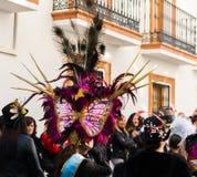 NERJA, SPANJE - FEBRUARI 11, 2018People in kostuums het vieren royalty-vrije stock afbeelding