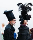NERJA, SPANJE - FEBRUARI 11, 2018People in kostuums het vieren stock foto's