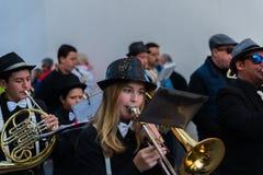 NERJA, SPANJE - FEBRUARI 11, 2018People in kostuums het vieren royalty-vrije stock fotografie