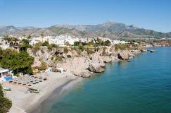 Nerja Strand Andalusia Spanje Stock Afbeeldingen