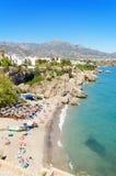 Nerja strand, berömd touristic stad i costa del solenoid, MÃ-¡ laga, Spanien Royaltyfri Bild