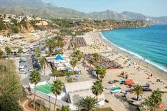 Nerja strand Malaga landskap, Costa del Sol, Andalusia, Spanien Royaltyfri Foto