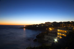 Nerja view after sunset. Dusk, before night royalty free stock images