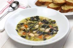 Nero de Zuppa di cavolo, sopa negra de la col rizada Imagenes de archivo