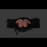 Nero di fondo del pittoriche del colorate di Mani Fotografia Stock