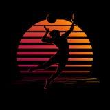Nero ed arancia barra il logo con la siluetta del giocatore di pallavolo Fotografie Stock Libere da Diritti