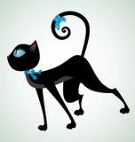 Nero-gatto-con-blu-nastro Fotografia Stock Libera da Diritti