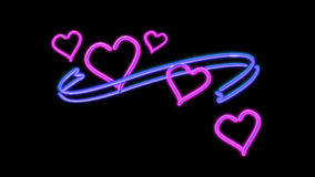 Neon light heart color Royalty Free Stock Photography