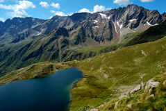 Nero lake. Foscagno lake northern Italy Lombardy veneto Gavia pass in the Brescia Country Royalty Free Stock Photography