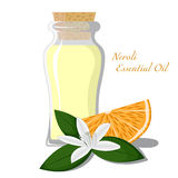 Neroli essential oil. Small bottle with essential oil of orange blossom Stock Images