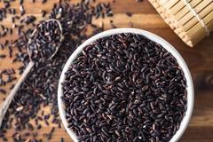 The nerone rice in bowl. The nerone rice in bowl on kitchen table Royalty Free Stock Image