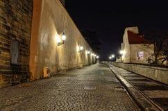 Nerudova street in Prague by night Royalty Free Stock Photo