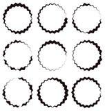 Nervös, Zickzackkreisrahmen, Kreisgrenze Strukturiertes Kreis-shap Stockfoto