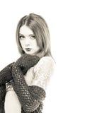 Nervöse junge Frau im Bikini Stockfotos