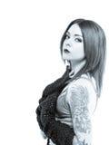 Nervöse junge Frau im Bikini Lizenzfreies Stockfoto