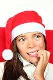 Nervöse Weihnachtsfrau mit Druck Lizenzfreies Stockbild