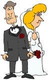 Nervöser Bräutigam u. seine Braut Stockfotos