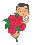Nervöser Mann, der einen Blumenstrauß von Rosen gibt Lizenzfreie Stockbilder