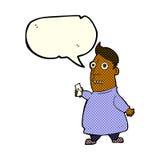 nervöser Mann der Karikatur mit Karten mit Spracheblase Lizenzfreies Stockfoto