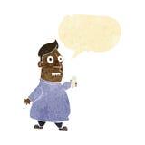 nervöser Mann der Karikatur mit Karten mit Spracheblase Stockbilder