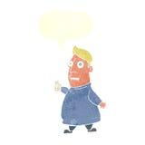 nervöser Mann der Karikatur mit Karten mit Spracheblase Stockfotos