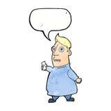 nervöser Mann der Karikatur mit Karten mit Spracheblase Lizenzfreie Stockbilder