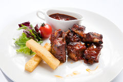 Nervature cotte della carne Fotografie Stock