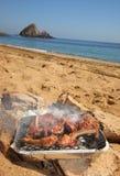 Nervature del BBQ sulla spiaggia Fotografia Stock