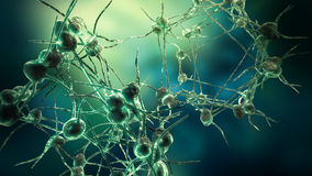 Nerve cell network and virus. Render of nerve cell network neuron  electron microscope for medical use Stock Photos