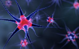 Nerve cell pulsating with red lights Stock Image