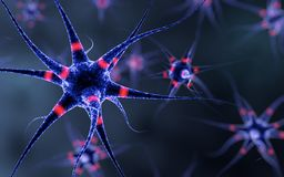 Nerve cell pulsating with red lights Royalty Free Stock Photography