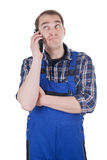 Nerved Craftsman on phone Royalty Free Stock Photos